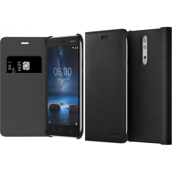 more photos 12f8f 286e7 Nokia Leather Flip Case - black - for Nokia 8