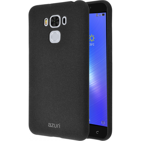 brand new d1913 76be1 Azuri flexible cover with sand texture - black - Asus Zenfone 3 Max 5.5