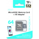 Azuri 64GB micro SDXC card class10 - 95MB/s read 60MB/s write (4K) avec adapteur