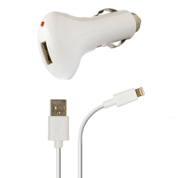 Azuri autolader met Apple lightning connector - wit
