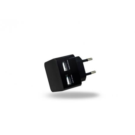 Azuri 220V USB head (excl USB kabel) met 2 USB poorten - 2Amp - zwart