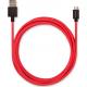 USBEPOWER FAB 250cm USB kabel met USB-C connector - rood met lederen band