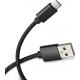 Azuri USB Sync- and charge cable - nylon - 33cm - micro USB connector - noir
