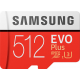 Samsung Evo + 512 GB micro SD class 10 - with adapter up to R100 MBs/ W90
